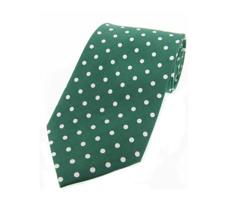 Twill Silk Tie, Spot Print - Green/White