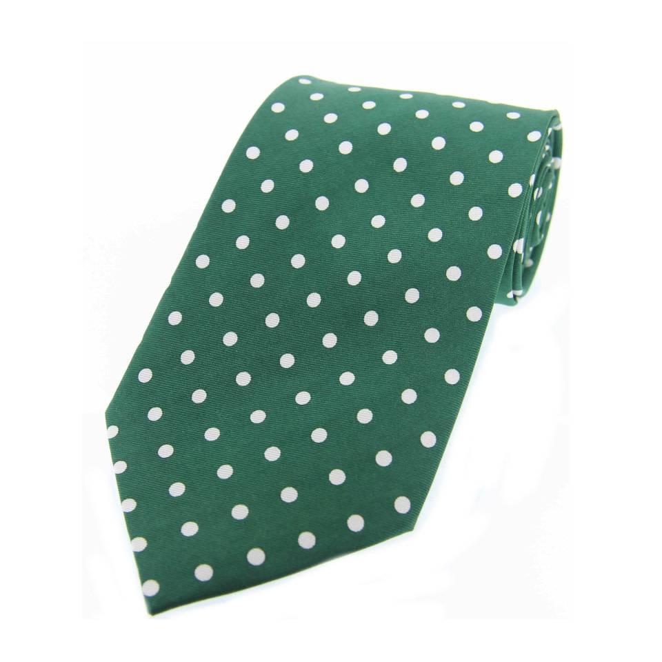 6db1ffa64450 Twill Silk Tie, Spot Print - Green/White - Oliver Brown
