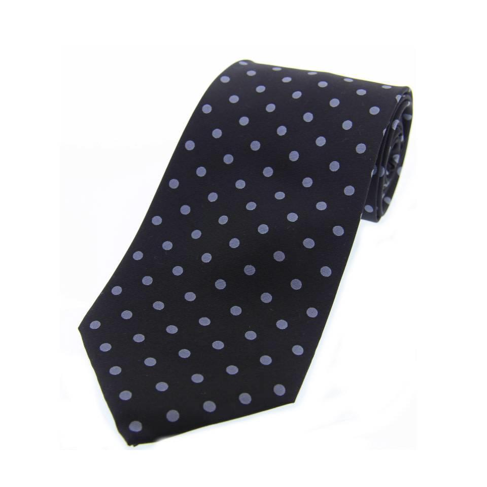 Twill Silk Tie, Spot Print - Black/Grey