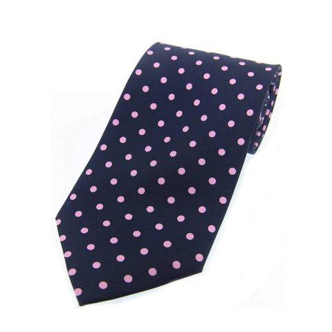 Twill Silk Tie, Spot Print - Navy/Pink