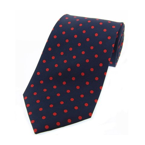 Twill Silk Tie, Spot Print - Navy/Red