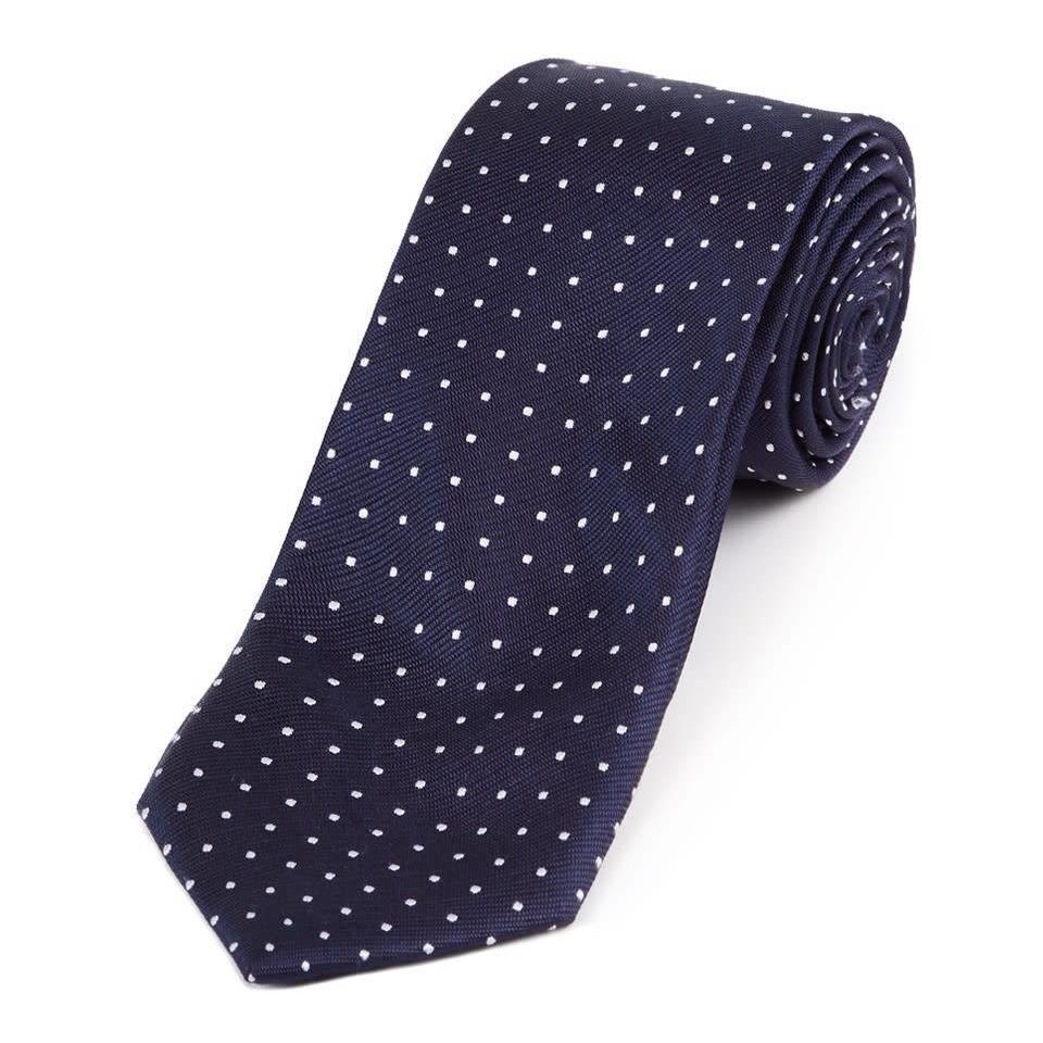 Twill Silk Tie, Spot Print - Navy/White