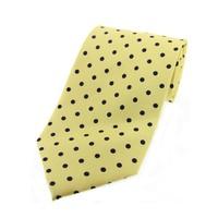 Twill Silk Tie, Spot Print - Yellow/Black