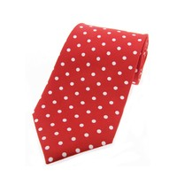 Twill Silk Tie, Spot Print - Red/White