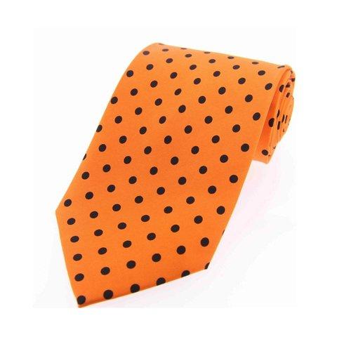 Twill Silk Tie, Spot Print - Orange/Black