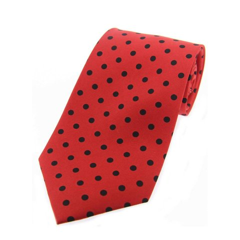 Twill Silk Tie, Spot Print - Red/Black