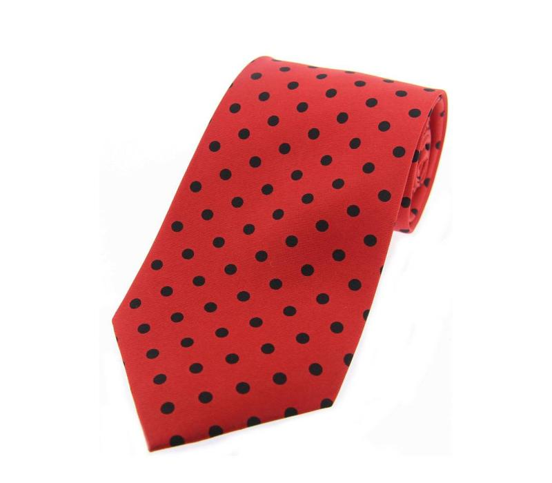 Twill Silk Tie, Spot Print - Red/Black