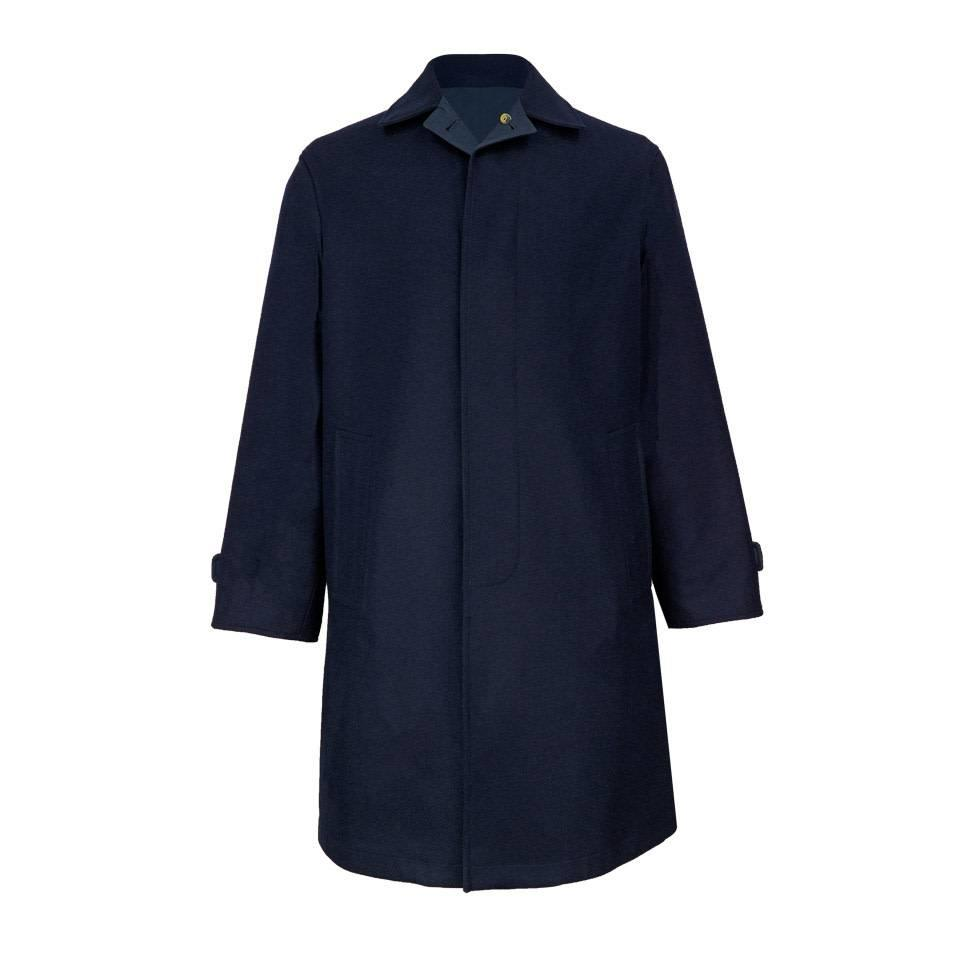 Navy Tweed Reversible Raincoat