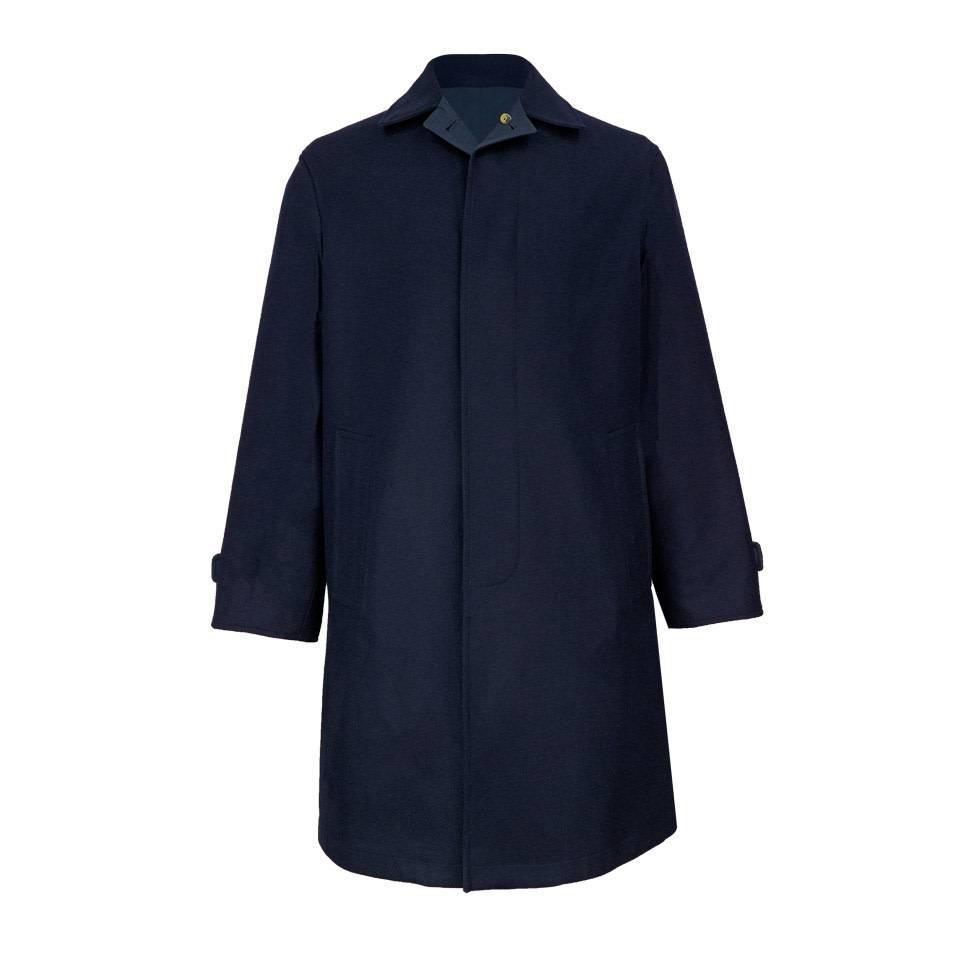 Tweed Reversible Raincoat - Navy