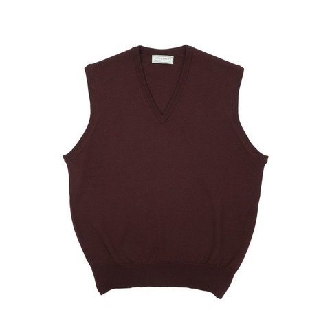 Merino Sleeveless Jumper - Burgandy