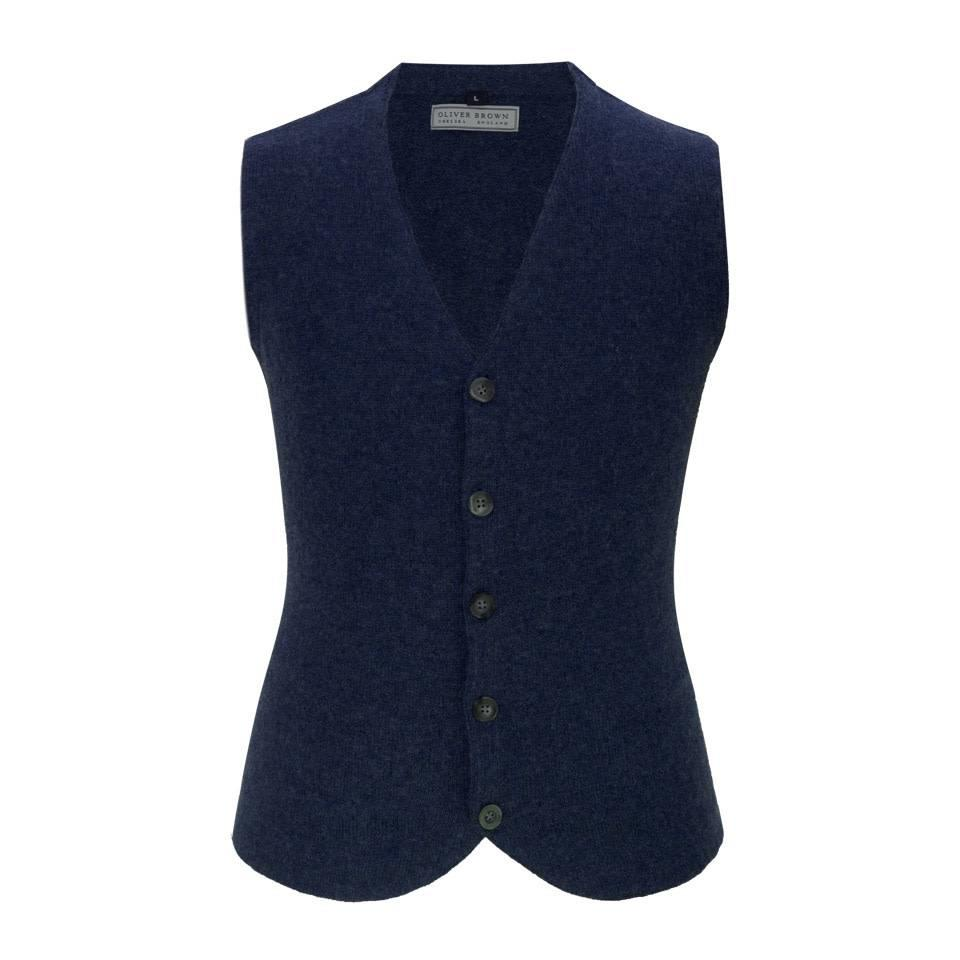 Cotton and Merino Waistcoat - Navy