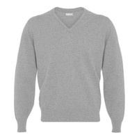 Merino V Neck Jumper - Light Grey Mix