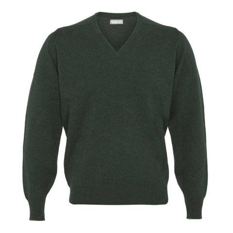 Merino V Neck Jumper - Hunter