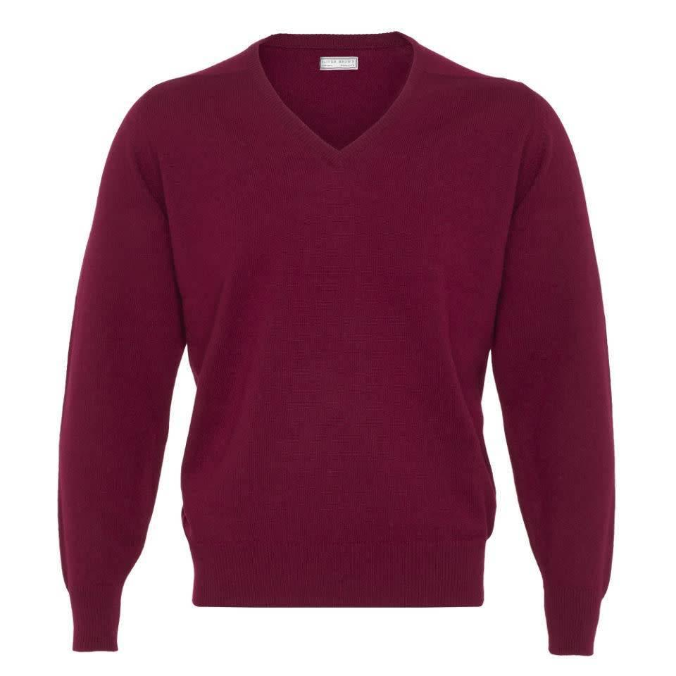Merino V Neck Jumper - Bordeaux