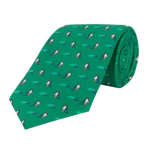 Fine Silk Tie, Penguin - Green
