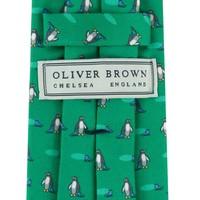 Fine Silk Tie, Penguin - Green