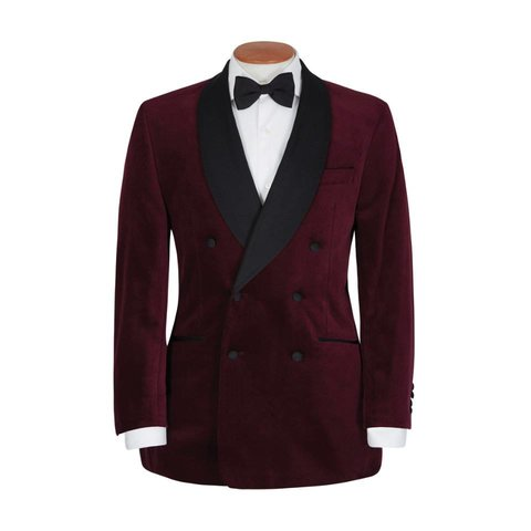 Double Breasted Smoking Jacket, with Shawl Collar - Burgundy