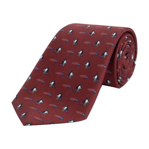 Fine Silk Tie, Penguin - Wine