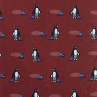 Fine Silk Tie, Penguin - Wine