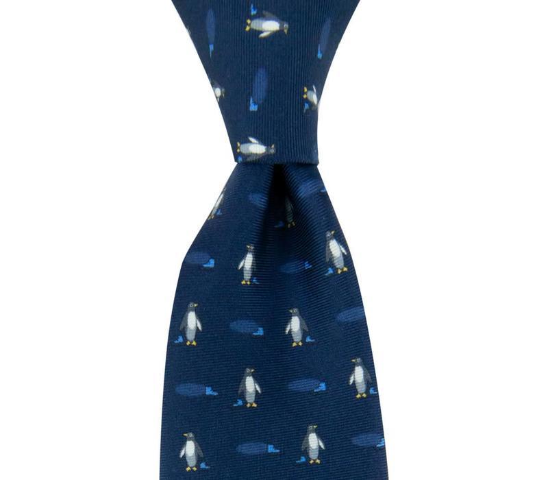 Fine Silk Tie, Penguin - Navy