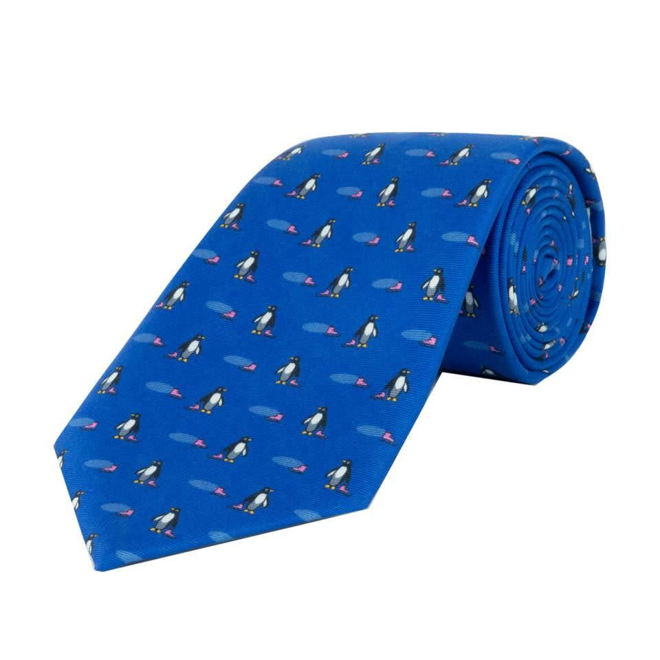 Fine Silk Tie, Penguin - Mid Blue