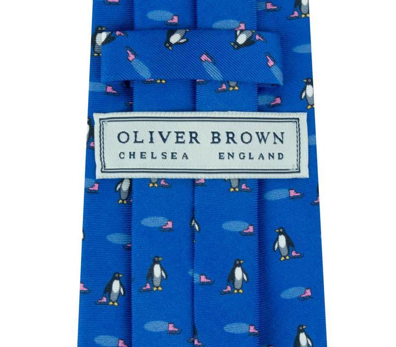 Fine Silk Tie, Penguin - Mid Blue
