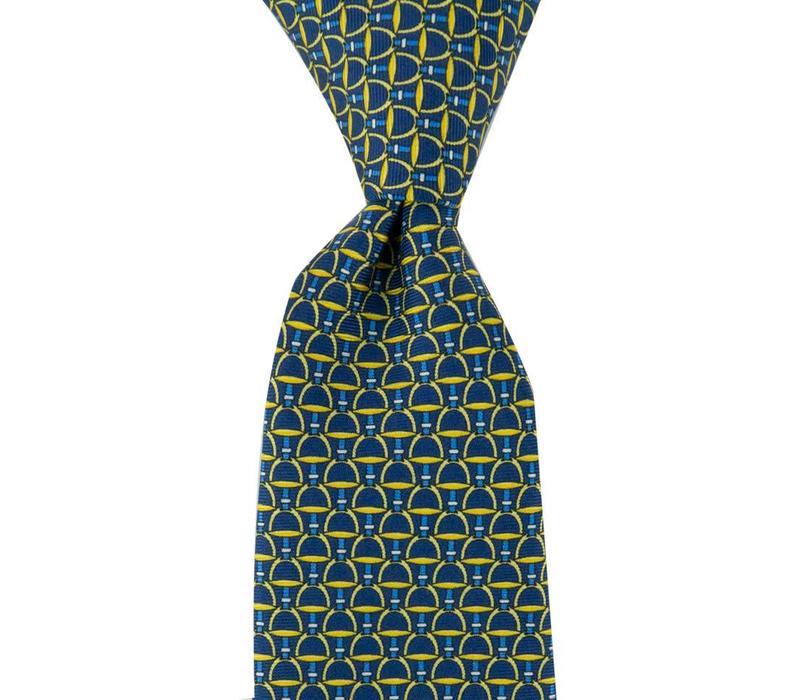 Fine Silk Tie, Stirrup - Navy and Yellow