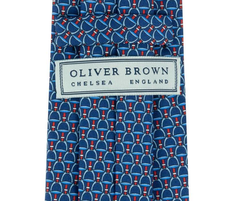 Fine Silk Tie, Stirrup - Navy and Pale Blue