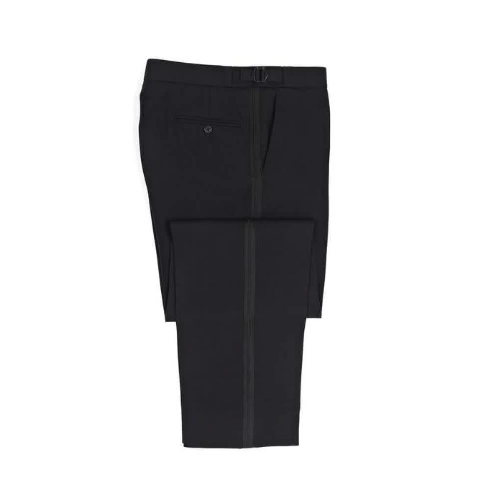 Flat Front Dinner Trousers - Black Barathea