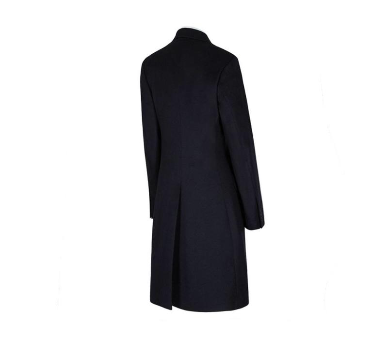 Single Breasted Overcoat - Navy Cashmere Blend