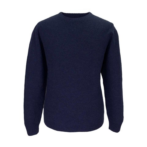 Cotton and Merino Crew Neck - Navy