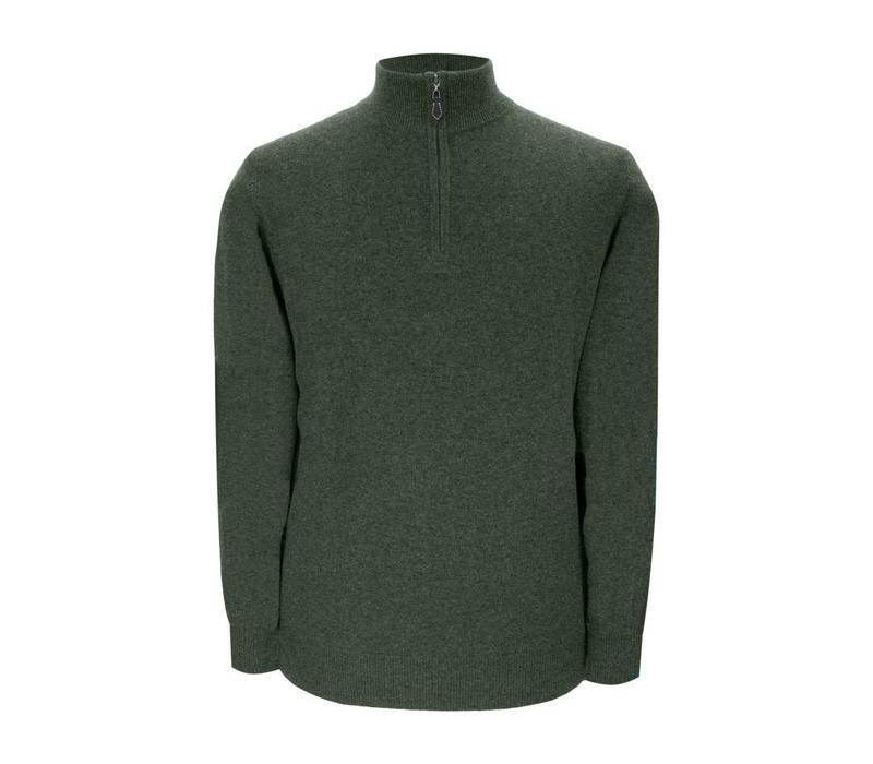 Cashmere Zip Sweater with Patches - Rosemary