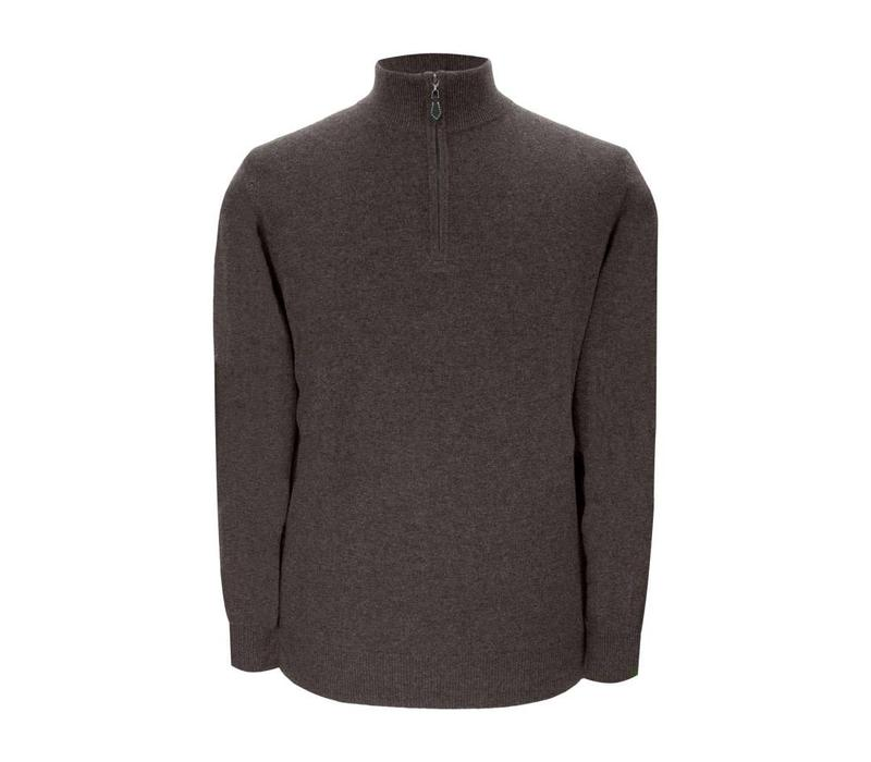 Cashmere Zip Sweater with Patches - Bark