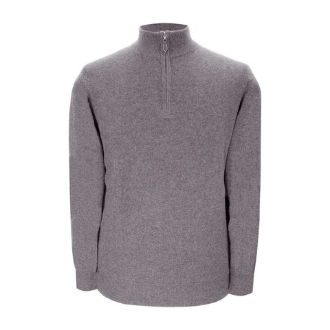 Cashmere Zip Sweater - Light Grey