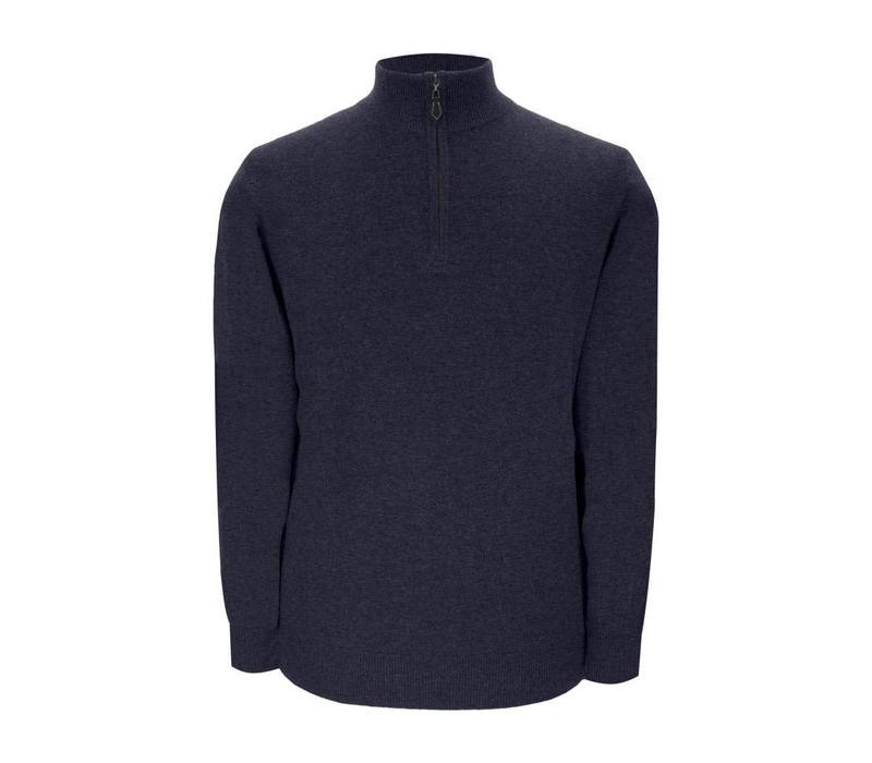 Cashmere Zip Sweater - Navy