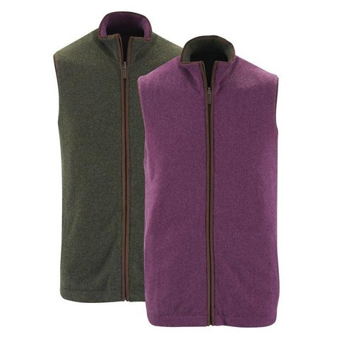 Cashmere Reversible Gilet - Green and Plum
