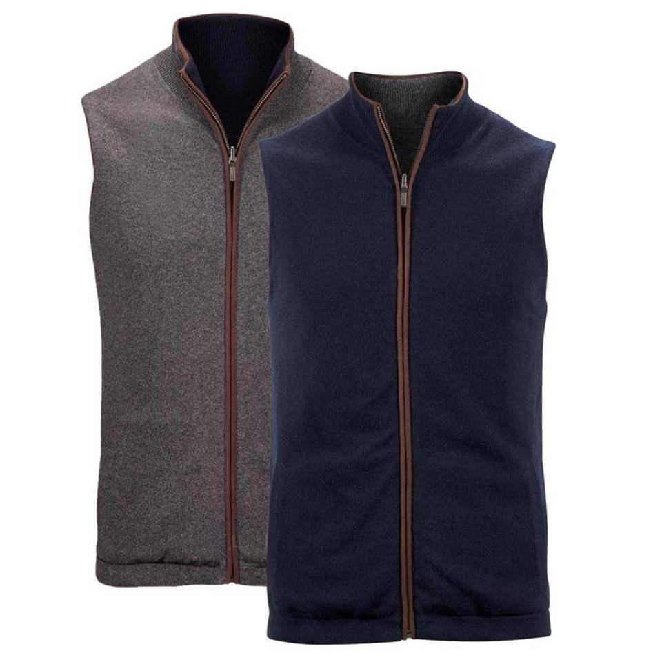 Cashmere Reversible Gilet - Navy & Charcoal