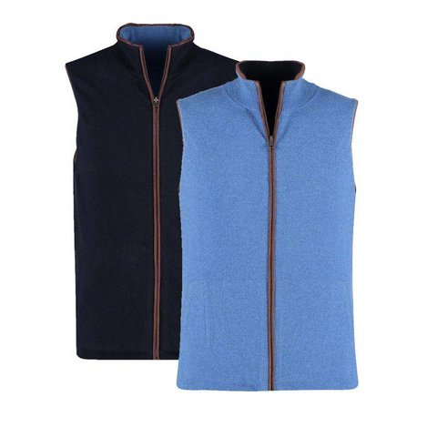 Cashmere Reversible Gilet - Navy and Denim