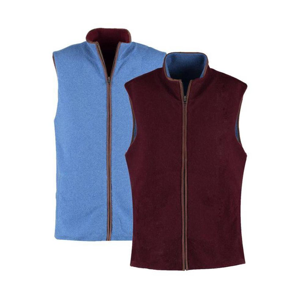 Cashmere Reversible Gilet - Denim and Claret