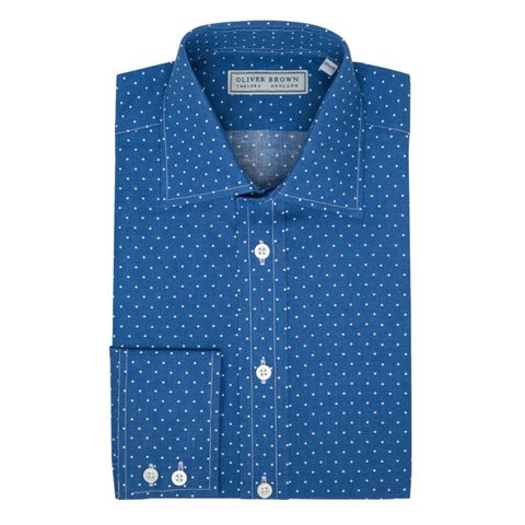 Polka Spot Patterned Shirt - Blue/White