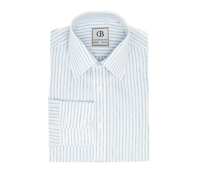 Linen Shirts, Striped - Blue and White