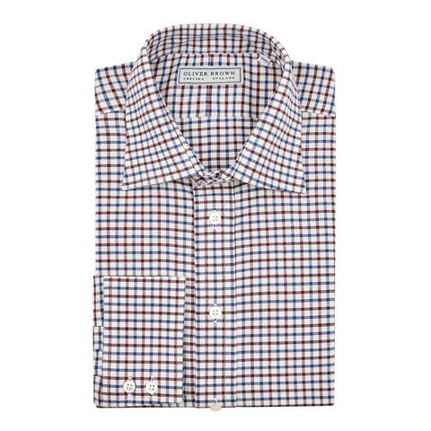 Thick Windowpane Shirt - Claret/Navy