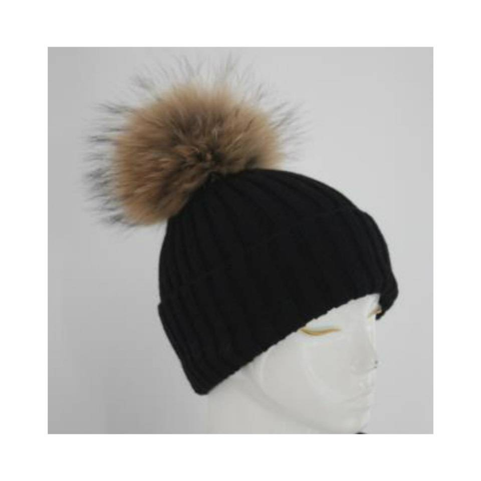 e0d6be82acd8 Hand Knitted Bobble Hat with Raccoon Fur Pom Pom - Oliver Brown