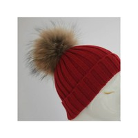 Hand Knitted Bobble Hat with Raccoon Fur Pom Pom