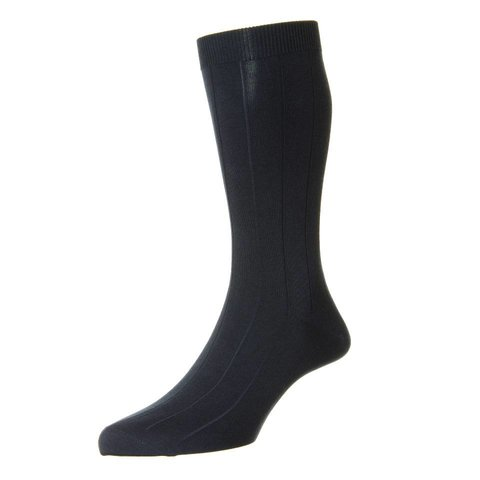 Sea Island Cotton Socks - Navy