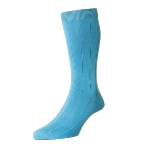Sea Island Cotton Socks - Aqua Blue