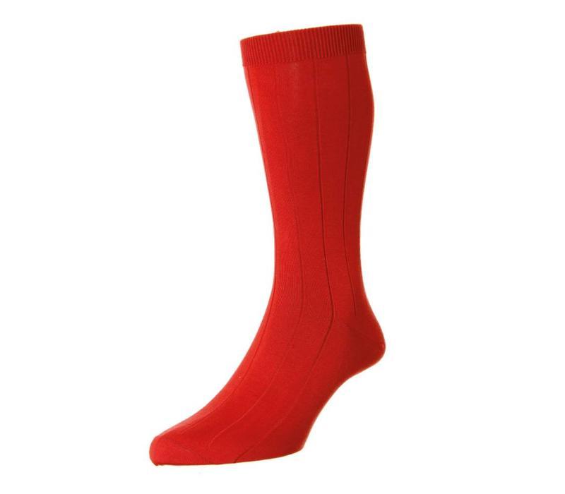 Sea Island Cotton Socks - Scarlet