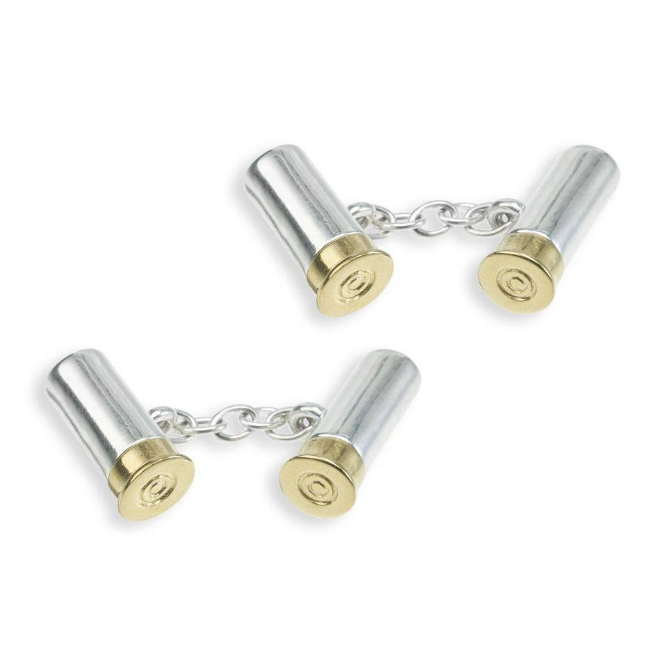 Solid Silver Sports Cufflinks, Four Cartridges