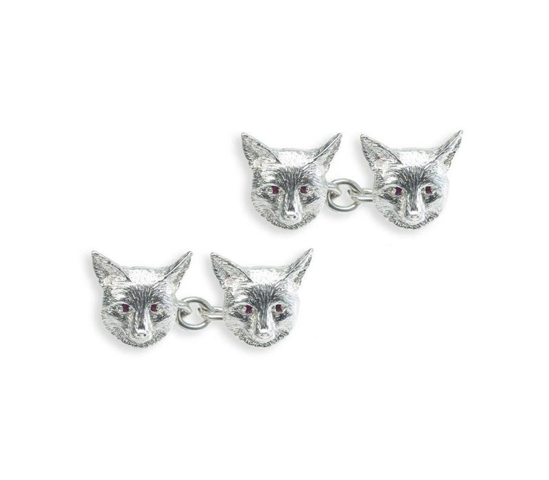 Solid Silver Field Sports Cufflinks, Fox Mask