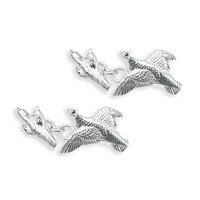 Solid Silver Field Sports Cufflinks, Grouse and Foot